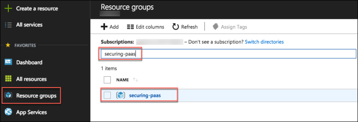 Resource groups is selected in the left-hand navigation pane of the Azure portal, and the resouce group name is entered into the Filter box. The resource group is highlighted and selected in the results.