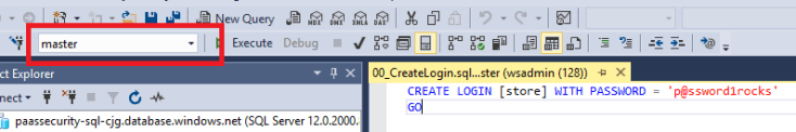 In SQL Management Studio, master displays in the top toolbar drop-down field.