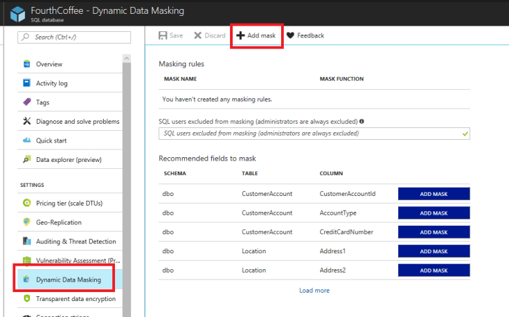 In the SQL Database blade, under Settings, Dynamic Data Marketing is selected. On the top toolbar, Add mask is selected.