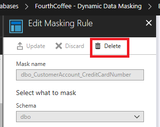 The Delete button is selected in the Edit Masking Rule blade.