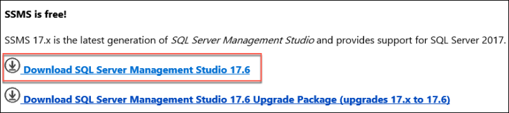On the SQL Server Management Studio download page, the Download SQL Server Management Studio 17.x link is highlighted.