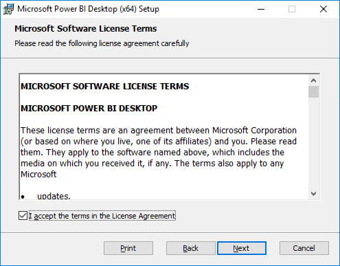 "Screenshot of the Power BI Desktop Software License Terms screen is displayed, with the ""I accept the terms in the License Agreement"" checkbox checked, and the Next button selected."