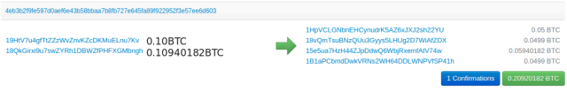 Figure 2: An example CoinJoin transaction with 2 users [11][12]