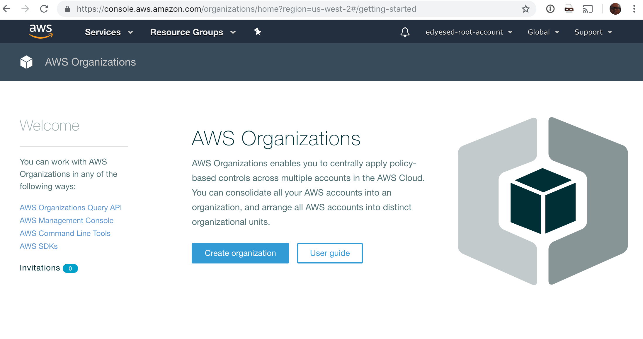 AWS Organizations Console for a fresh account, default page