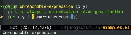 {focus_keyword} emacs-elsa/Elsa unreachable code 1