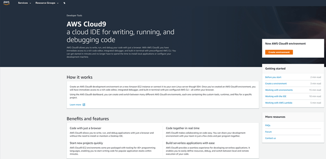 Cloud9 Landing Page
