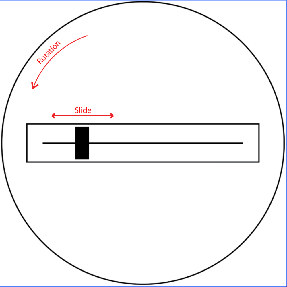 A slider potentiometer on a rotating platform