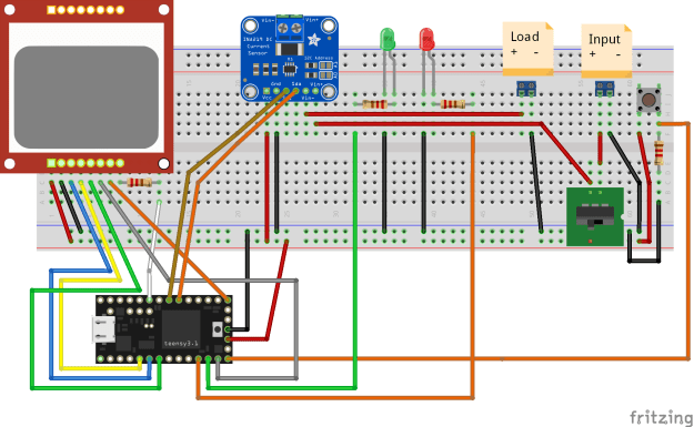 Breadboard layout of the INA219 Meter Circuit
