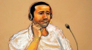 Courtroom sketch of al Nashiri by artist Janet Hamlin. Today in court he was wearing a similar white jumpsuit.