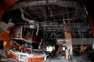 A JW Marriott restaurant after the bombing.