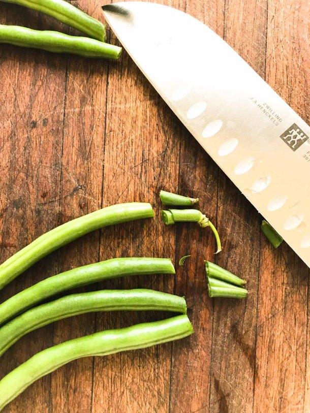 Easy Green Beans Trim the Beans