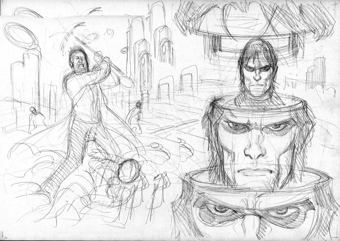 Lay-out-sketch-pencil-by-giulio-de-vita-for-morgan-lost-cover