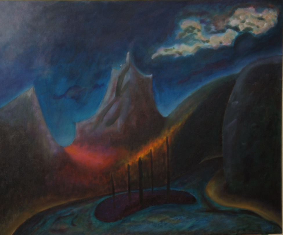 Imaginary scene. A river flows into the distance between 2 hills on the right. A small island is in the foreground with 5 branchless trees on it. On the left is a small mountain, in the distance is a tall mountain. Night sky with some clouds. Perhaps a fire burns on the hill behind the trees, and a violet valley leads between the 2 mountains.