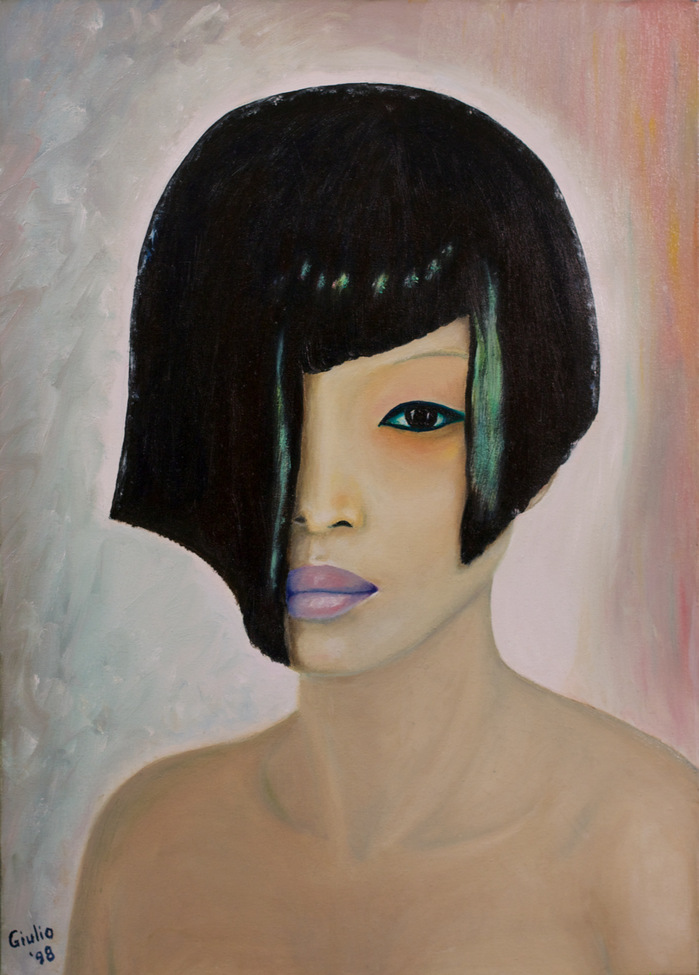 Portrait of Asian girl, bare shoulders, only 1 eye visible, violet lips