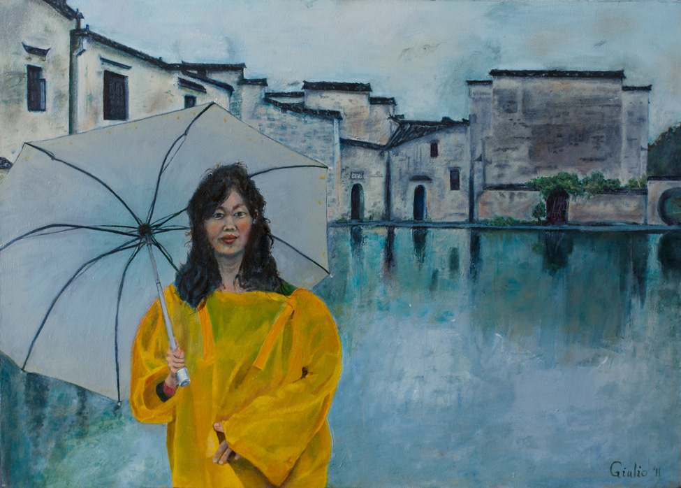Woman in yellow raincoat with grey umbrella standing in front of a waterway in a Chinese village setting on a rainy day. Everything rendered in grey except for the raincoat.