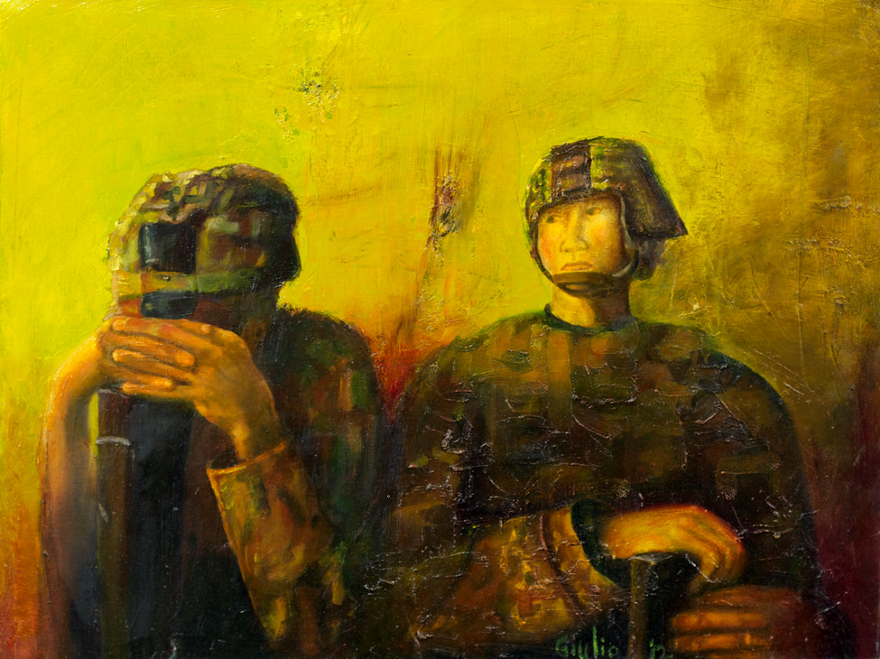 Two soldiers, one bowed over his rifle, other looking off into the distance. Tones in green, yellow and violet