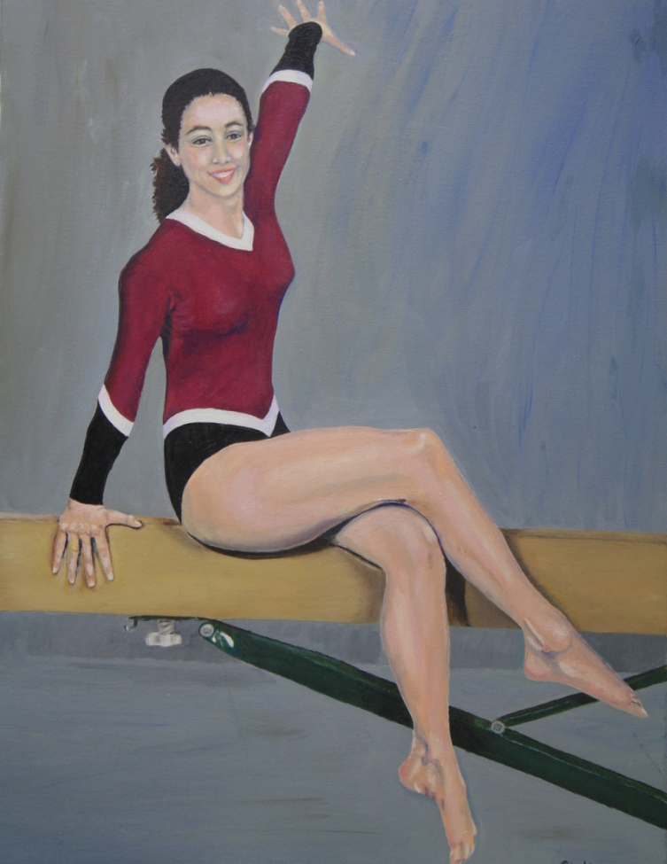 young girl in gymnastics outfit sitting on parallel bar
