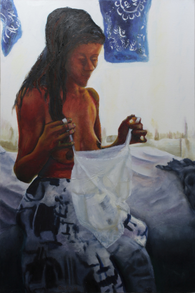 portrait of woman sitting on a bed, day lit from behind, wearing a skirt, about to put on a camusol