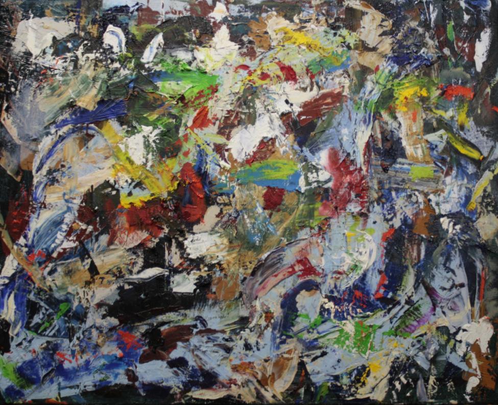 pleasing array of many colours randomly knifed onto canvas