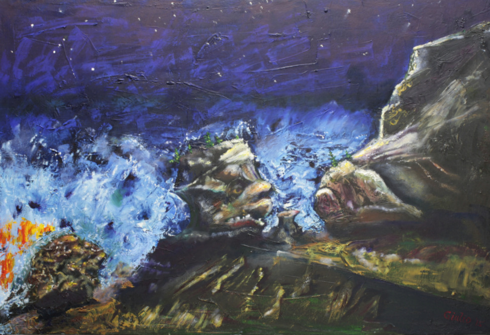 night scene with stormy ocean and 2 rocks like faces confronting each other