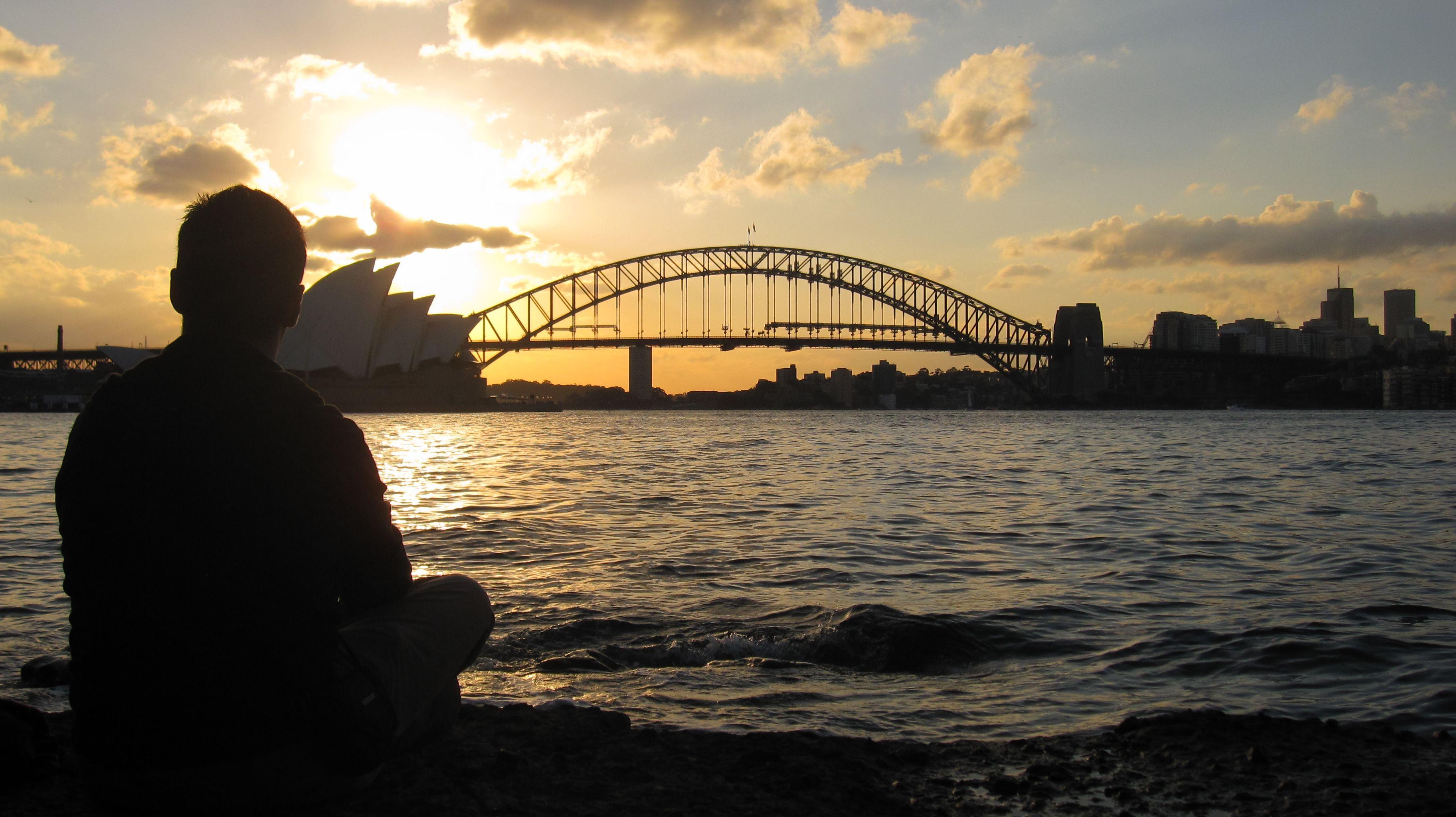 Al tramonto a Sydney, con la testa già un po' in Italia...