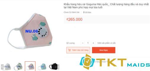 Khẩu trang hữu cơ Goguma Hàn quốc