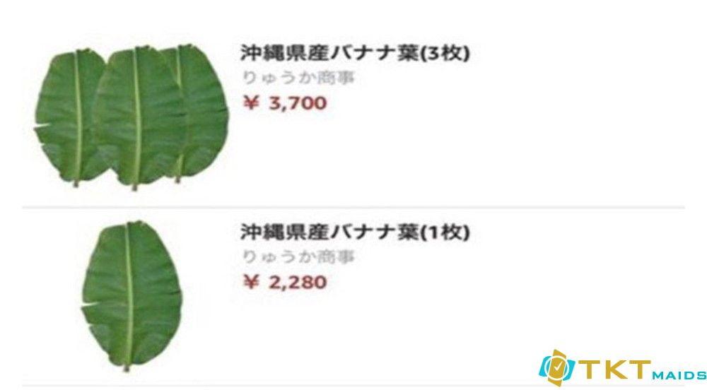Lá chuối bán trên thị trường Nhật