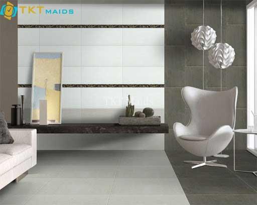 Hình ảnh minh họa: dùng gạch men, ốp tường và sàn phòng ngủ