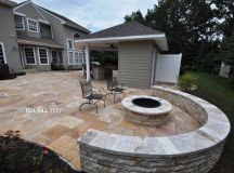 Travertine Fire Pit & Sitting Wall Built by Gappsi on Long ...