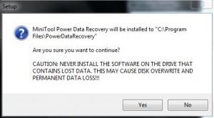 MiniTool Installation Warning
