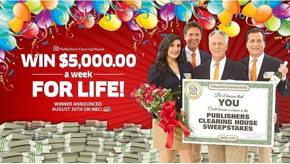 PCH.com $5000 A-Week-For-Life SuperPrize Giveaway – Win $5000 Cash
