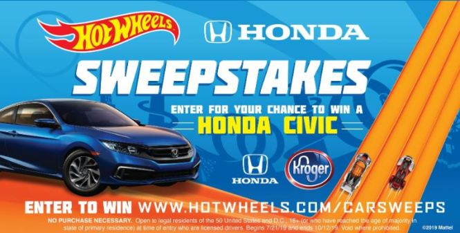 2019 Hot Wheels Kroger Honda Civic Sweepstakes - Enter To Win Car