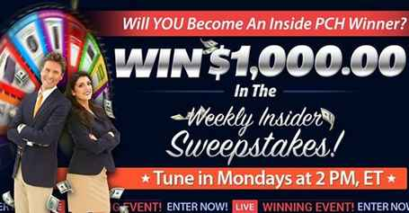 PCH Weekly Insider Sweepstakes Giveaway No  12615 - Win $1,000 Cash