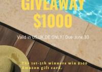 Aegend $1000 Amazon Gift Card Giveaway