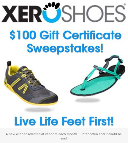 Xero Shoes $100 Gift Certificate Sweepstakes