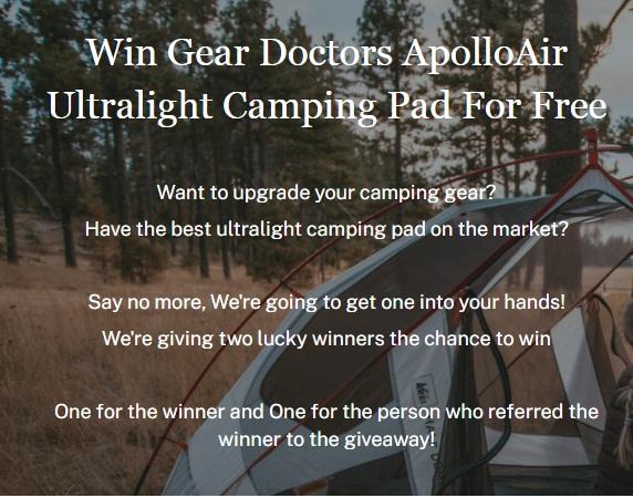 Gear Doctors ApolloAir Ultralight Camping Pad Giveaway