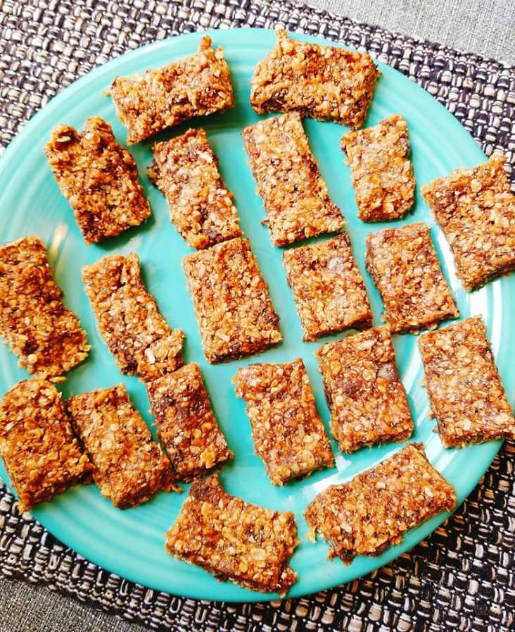 Toasted coconut, chocolate, and chia granola bites ready to eat
