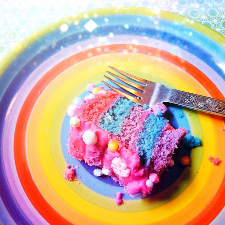 Slice of gluten-free Cotton Candy Cake by Give It A Whirl Girl