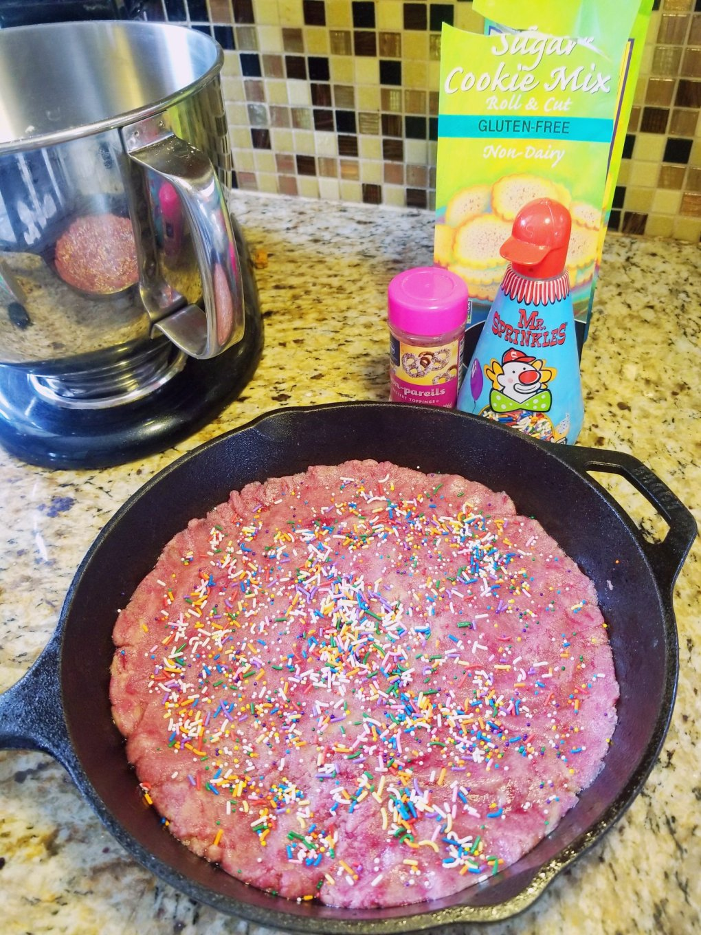 Cast-iron gluten-free cookie before baking - Pamela's Sugar Cookie - GIVE IT A WHIRL GIRL