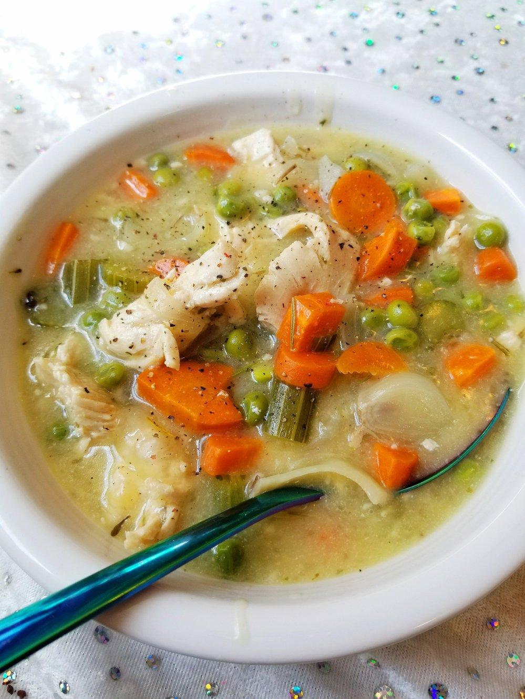 Paleo-ish Gluten-Free Chicken Pot Pie Soup
