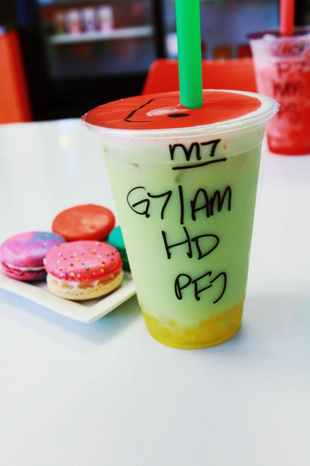 Kawaii Bubble Tea Boba drink (honeydew, with almond milk, green tea, and passionfruit jelly)