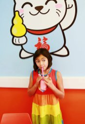 Drinking boba at Kawaii Bubble Tea