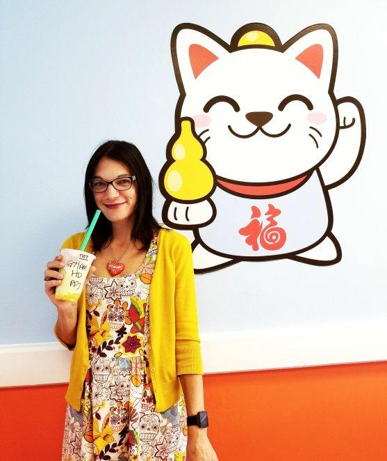 Drinking boba at Kawaii Bubble Tea