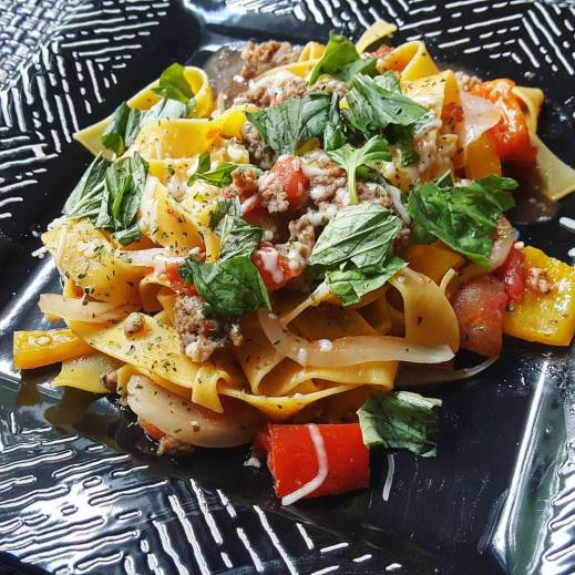 Top it with some cheese! Italian Drunken Noodle