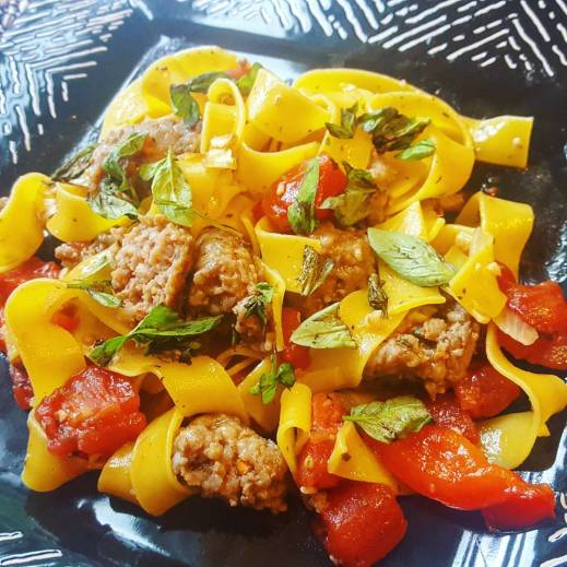 Hot and steamy Italian Drunken Noodles on my plate!