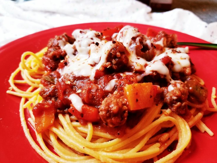 Tri-Color Pepper, Ground Beef, and Italian Sausage Spaghetti With Ancient Harvest Pasta