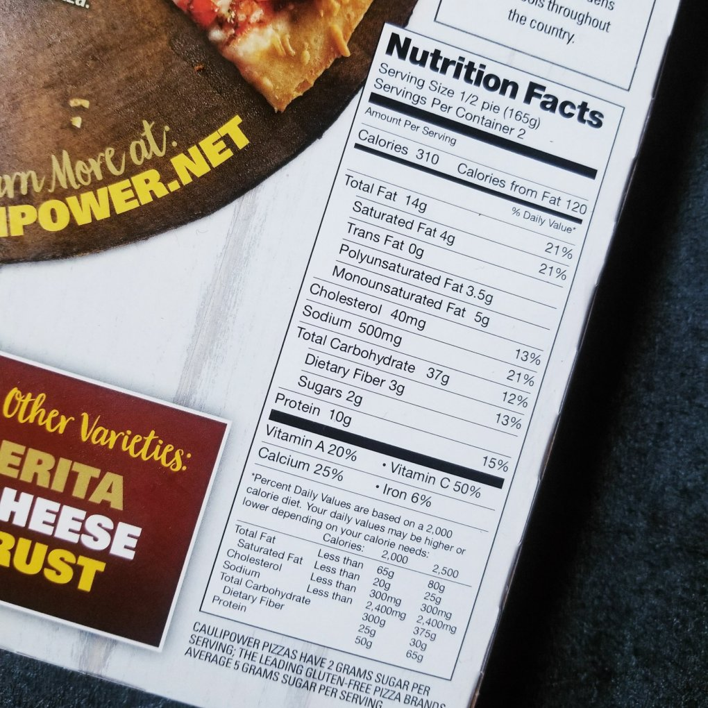 Caulipower Veggie Pizza nutrition facts