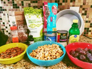 Ingredients for Matcha & Chocolate Vegan Cheesecak