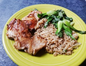 Marley Spoon Japanese-Style Chicken with Bok Choy and Brown Rice
