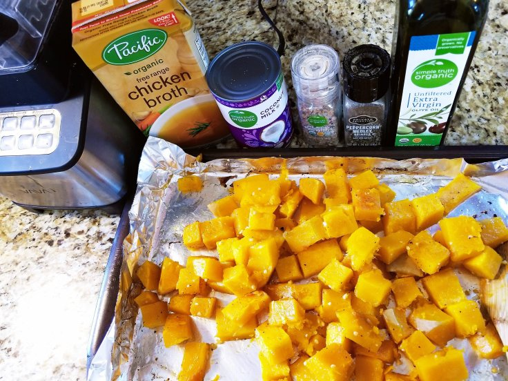 Roasted butternut squash ready to be turned into soup